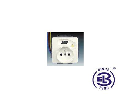 Zásuvka bezpečnostní FI-DOS s vestavěným proudovým chráničem, s clonkami, s výstupními chráněnými vodiči Swing/Swing L, krémová, řazení 2P+PE, 5526G-A02379C1 ABB