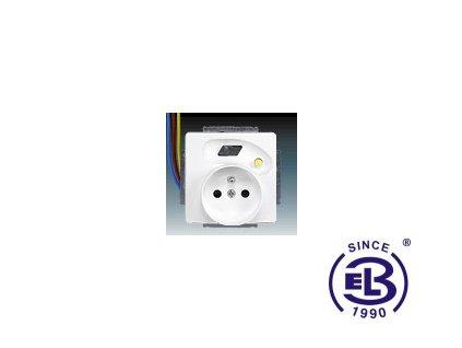Zásuvka bezpečnostní FI-DOS s vestavěným proudovým chráničem, s clonkami, s výstupními chráněnými vodiči Swing/Swing L, jasně bílá, řazení 2P+PE, 5526G-A02379B1 ABB