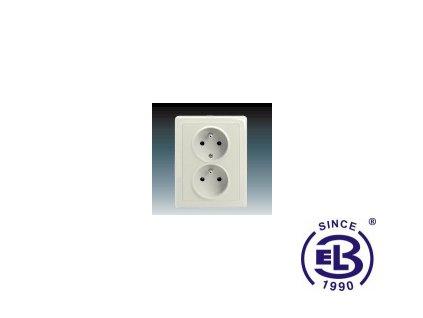 Zásuvka dvojnásobná polozapuštěná s ochrannými kolíky Swing/Swing L, krémová, řazení 2x(2P+PE), 5512G-C02249C1 ABB
