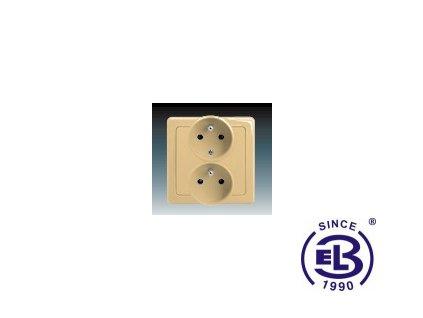Zásuvka dvojnásobná polozapuštěná s ochrannými kolíky Swing/Swing L, béžová, řazení 2x(2P+PE), 5512G-C02249D1 ABB