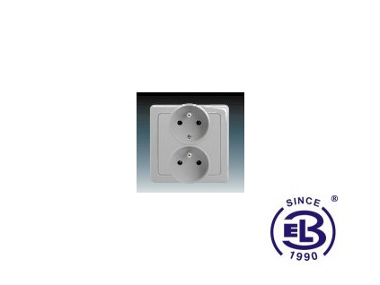 Zásuvka dvojnásobná polozapuštěná s ochrannými kolíky Swing/Swing L, světle šedá, řazení 2x(2P+PE), 5512G-C02249S1 ABB
