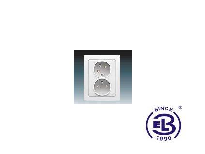 Zásuvka dvojnásobná s ochrannými kolíky, s clonkami, s natočenou dutinkou Swing/Swing L, jasně bílá, řazení 2x(2P+PE), 5513J-C02357B1 ABB