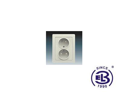 Zásuvka dvojnásobná s ochrannými kolíky, s clonkami, s natočenou dutinkou Swing/Swing L, krémová, řazení 2x(2P+PE), 5513J-C02357C1 ABB