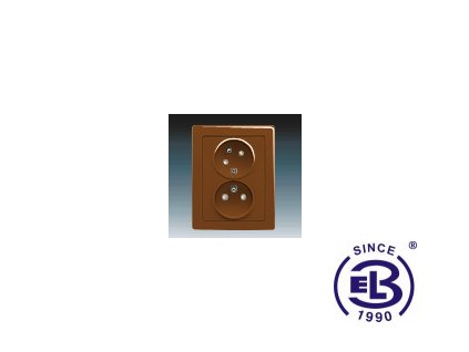 Zásuvka dvojnásobná s ochrannými kolíky, s clonkami, s natočenou dutinkou Swing/Swing L, hnědá, řazení 2x(2P+PE), 5513J-C02357H1 ABB