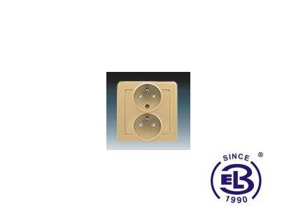 Zásuvka dvojnásobná polozapuštěná s ochrannými kolíky, s clonkami Swing/Swing L, béžová, řazení 2x(2P+PE), 5512J-C02259D1 ABB