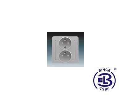Zásuvka dvojnásobná polozapuštěná s ochrannými kolíky, s clonkami Swing/Swing L, světle šedá, řazení 2x(2P+PE), 5512J-C02259S1 ABB