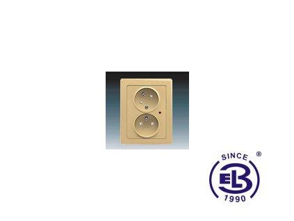 Zásuvka dvojnásobná s ochrannými kolíky, s clonkami, s natočenou dutinkou, s ochranou před přepětím Swing/Swing L, béžová, řazení 2x(2P+PE), 5593J-C02357D1 ABB