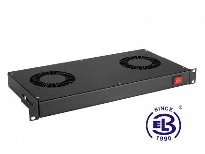 Chladící jednotka bez termostatu, 2 ventilátory, výška 1U, černá