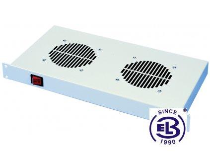 Chladící jednotka bez termostatu, 2 ventilátory, výška 1U, šedá
