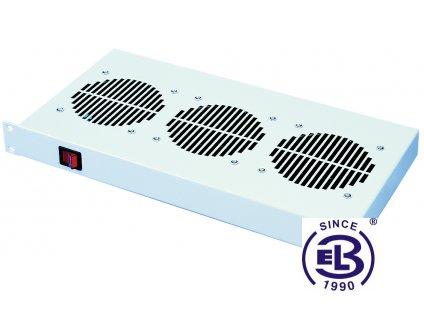 Chladící jednotka bez termostatu, 3 ventilátory, výška 1U, šedá