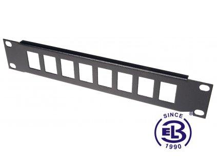 """Patch panel s vyvazováním 10"""", 8 portů, přímý, 1U, černý"""