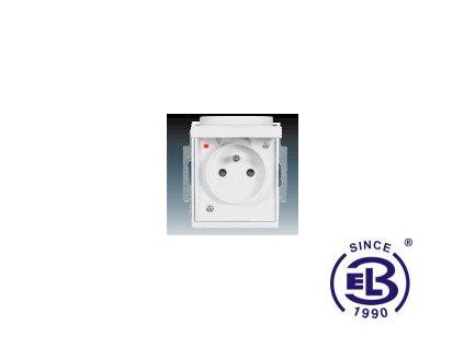 Zásuvka jednonásobná s ochranným kolíkem, s clonkami, s víčkem, s ochranou před přepětím Element, bílá/bílá, řazení 2P+PE, 5598E-A0299903 ABB
