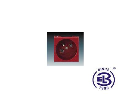 Zásuvka 45x45 s ochranným kolíkem Profil 45, karmínová, řazení 2P+PE, 5525N-C02347R1 ABB