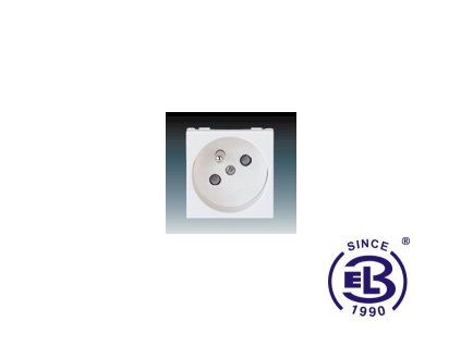 Zásuvka 45x45 s ochranným kolíkem, s clonkami Profil 45, bílá, řazení 2P+PE, 5525N-C02357B ABB