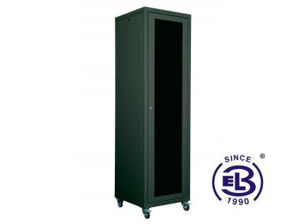 """Rozvaděč skládaný 19"""", LC-05+, 24U, 600x600, černý, skleněné dveře"""