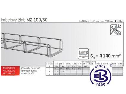 Kabelový žlab MERKUR 2, M2 100/50mm, 2000mm ARK - 221120 ŽZ, ARKYS