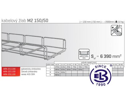 Kabelový žlab MERKUR 2, M2 150/50mm, 2000mm ARK - 211130 GZ, ARKYS