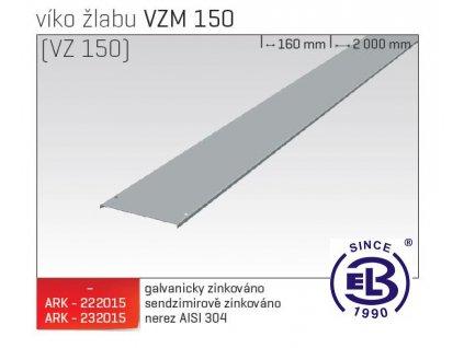 Víko žlabu MERKUR 2, VZM 150 ARK - 222215 ŽZ, ARKYS