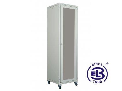 """Rozvaděč skládaný 19"""", LC-05+, 28U, 600x600, šedý, skleněné dveře"""