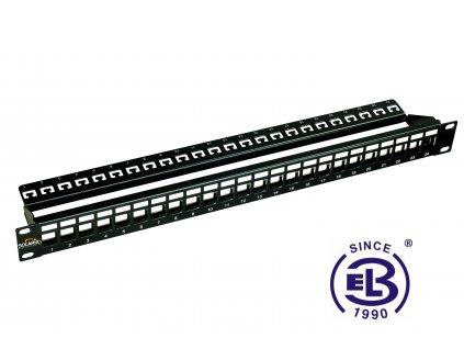 """Patch panel 19"""" univerzální neosazený 24 portů, 1U, černý"""