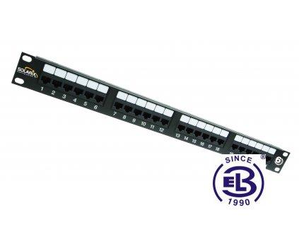 Patch panel Cat6 UTP 24 x RJ45 s vyvazovací lištou černý 1U SOLARIX