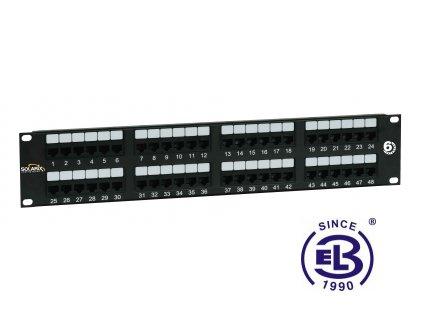 Patch panel Cat6 UTP 48 x RJ45 350MHz černý 2U SOLARIX