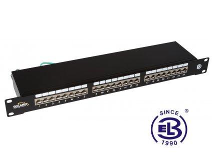 Patch panel Cat6 STP 24 x RJ45 s vyvazovací lištou černý 1U SOLARIX