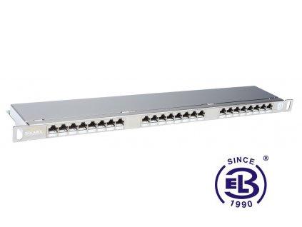 Patch panel Cat6 STP 24 x RJ45 s vyvazovací lištou nerezová ocel 0,5U SOLARIX