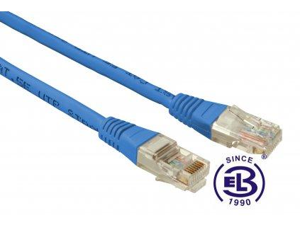Patch kabel CAT5E UTP PVC 0,5m modrý, non-snag proof, SOLARIX
