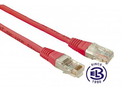 Patch kabel CAT5E UTP PVC 0,5m červený, non-snag proof, SOLARIX