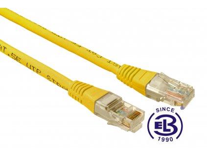 Patch kabel CAT5E UTP PVC 0,5m žlutý, non-snag proof, SOLARIX
