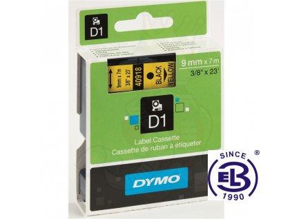 Páska do tiskárny štítků 40918 černý tisk/žlutý podklad 7m, 9mm D1 DYMO
