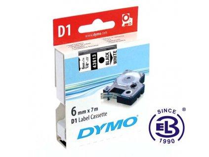 Páska do tiskárny štítků 43613 černý tisk/bílý podklad 7m, 6mm D1 DYMO