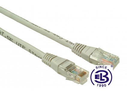 Patch kabel CAT6 UTP PVC 0,5m šedý, non-snag-proof, SOLARIX