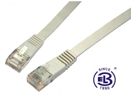 Patch kabel plochý CAT6 UTP LSOH 10m šedý, non-snag-proof, SOLARIX