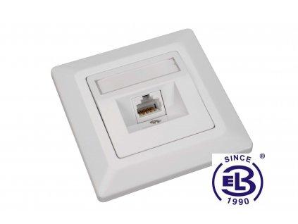 Zásuvka Cat6 UTP 1xRJ45 bílá pod omítku SOLARIX