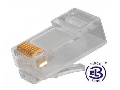 Konektor RJ45 Cat6 UTP 8p8c nestíněný skládaný na drát KRJ45/6SLD SOLARIX