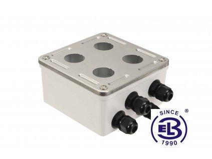 Box průmyslový s nerez čelem pro 4x zásuvkový modul IP67 SOLARIX