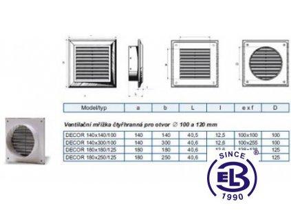 Mřížka ventilační Decor model Flange 140x140/100mm BLAUBERG