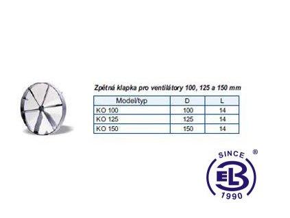Klapka zpětná pro ventilátory 100mm BLAUBERG