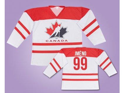 Hokejový dres Kanada bílý s vlastním jménem (Velikost XXL)