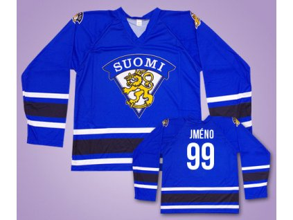 Hokejový dres Finsko s vlastním jménem modrý (Velikost XXL)