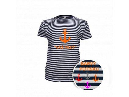 Tričko námořnické dětské kotva krátky rukáv - potisk