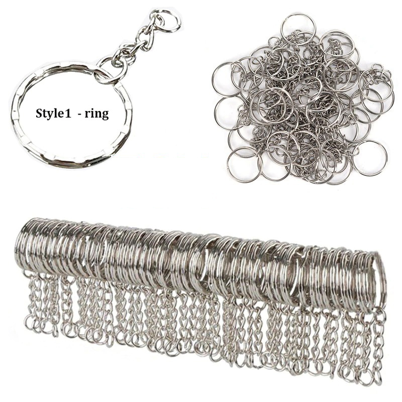 50Pc keychain style1_silver-plated-metal-blank-keyring-keycha_variants-0