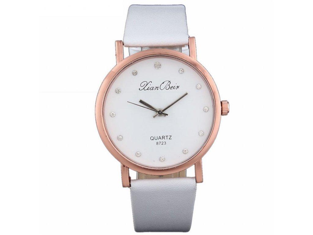 ... černé Elegantní dámské hodinky s koženkovým páskem bílé 21f76ab137