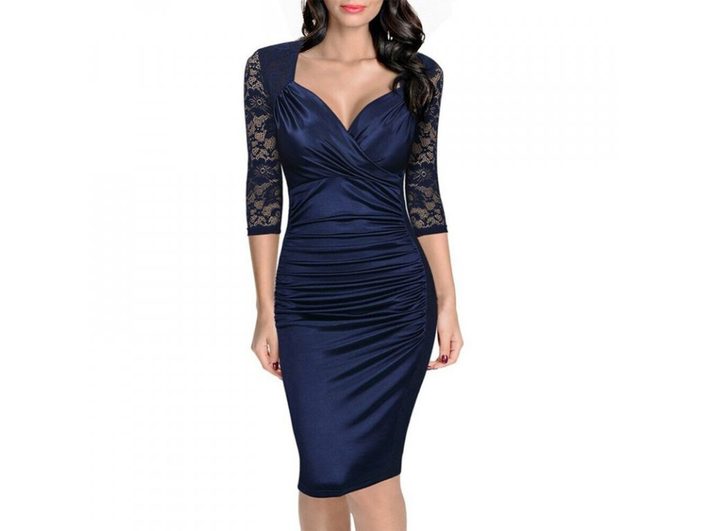 b31ec42c8223 Elegantní modré šaty s krajkou - SLEVA 50%