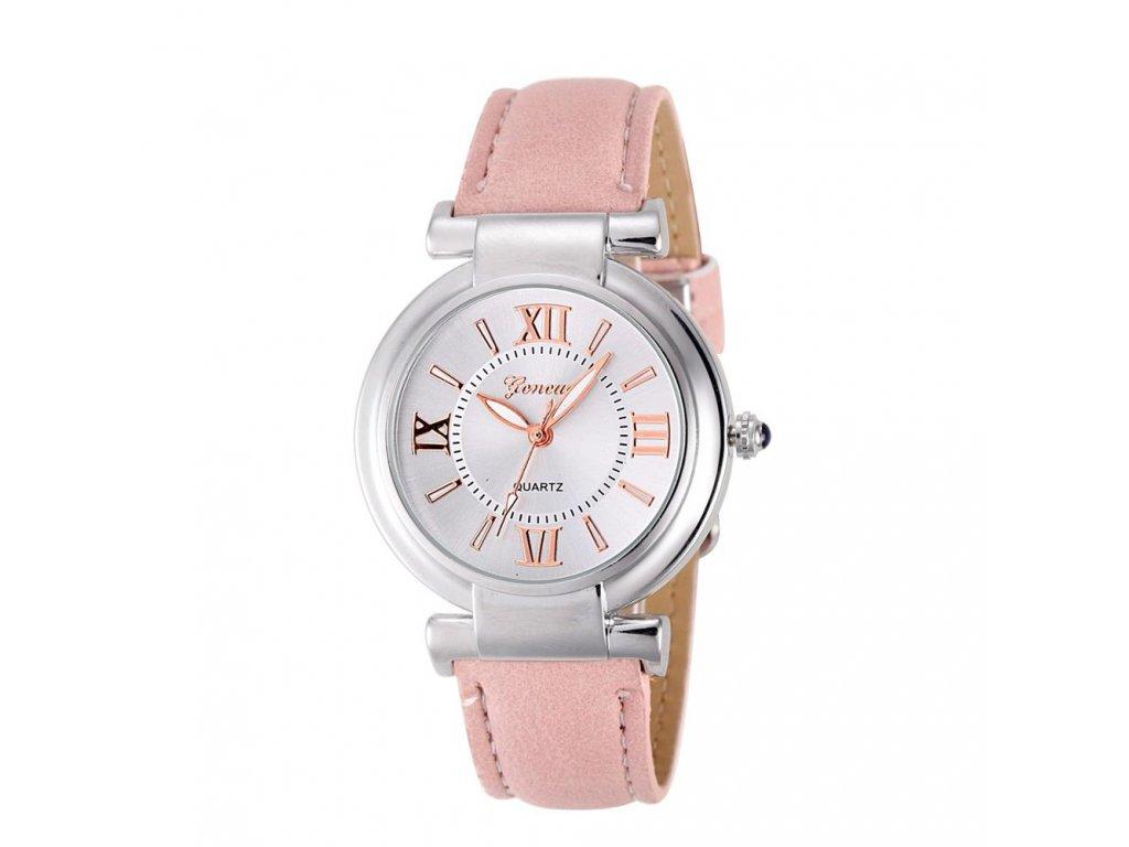 c57d569eb3f ... Stylové dámské hodinky s římskými číslicemi růžové ...