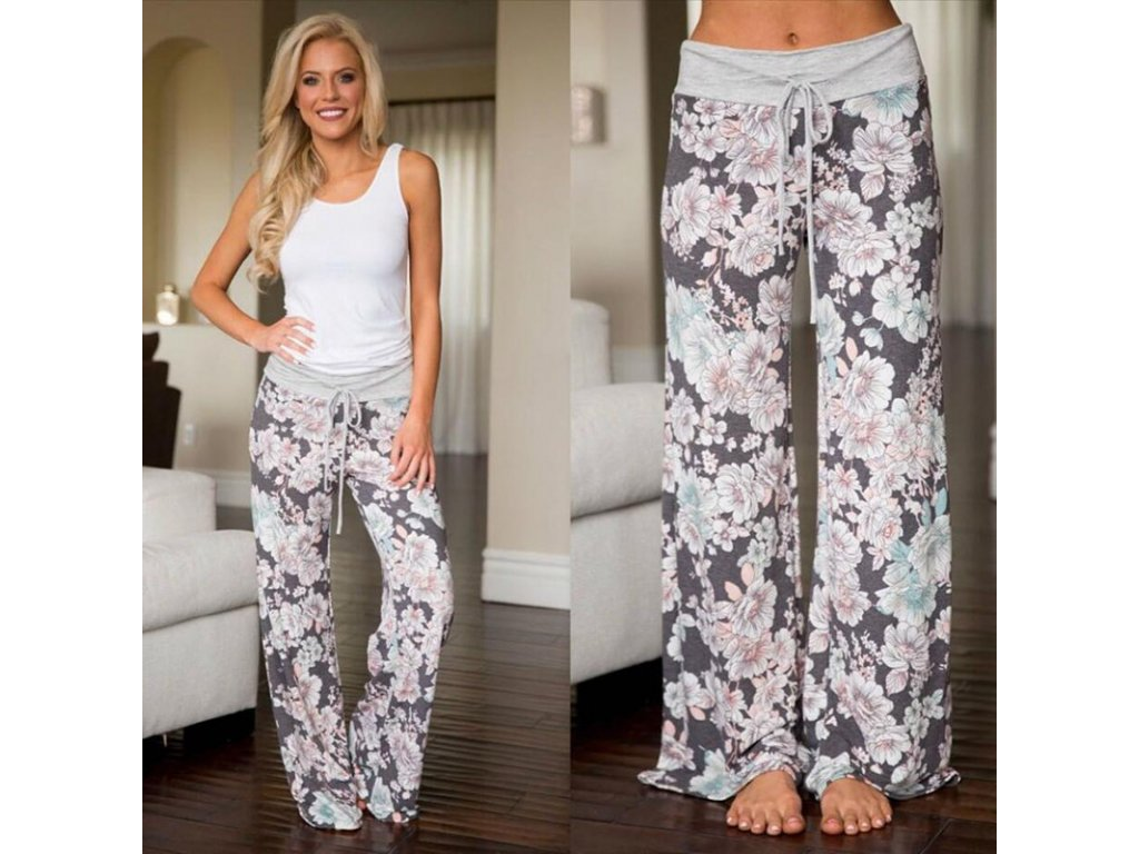 Široké dámské květované kalhoty - SLEVA 30% 6618d58e03