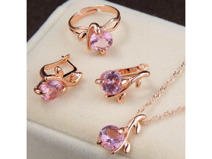 Pozlacený set šperků s růžovými zirkony