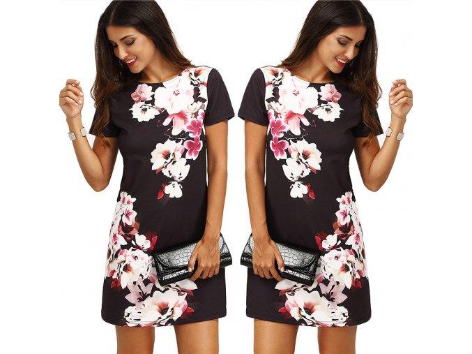 Stylové černé dámské šaty s motivem květin